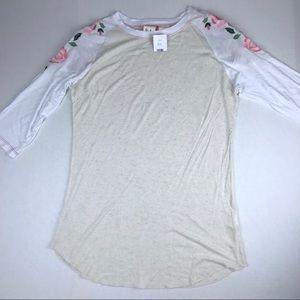 Boho Jane Embroidered Cream/White Baseball Tee